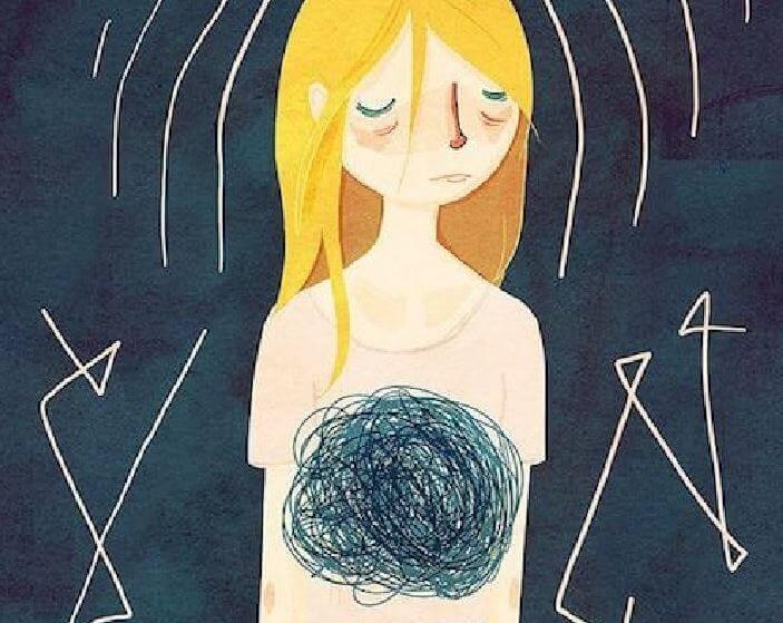 Kvinne kjenner på angsten i magen