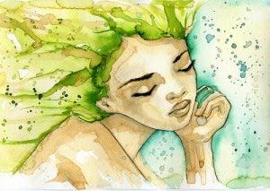 Kvinne med grønt hår