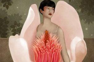 kvinne i blomst