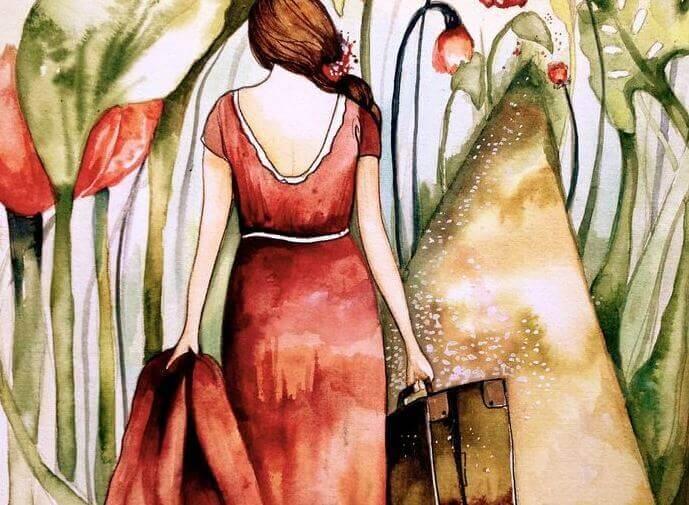 kvinne med koffert