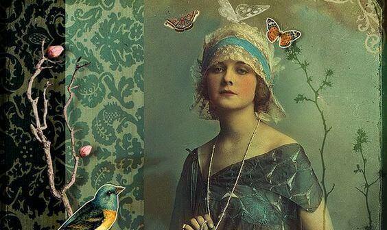 kvinne med sommerfugler og fugler