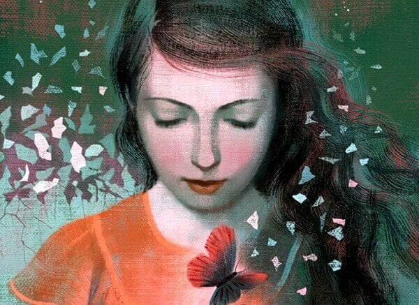 kvinne med sommerfugler