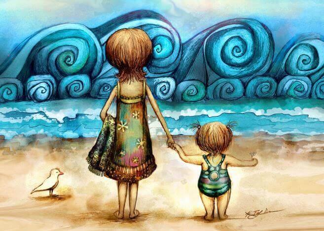 mor og barn pa stranden