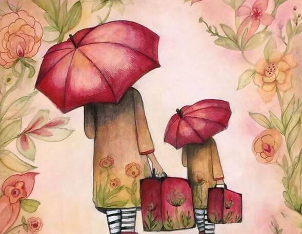 mor og datter med paraplyer