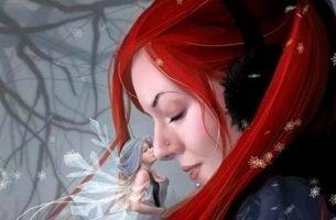 kvinne med rodt hor og fe