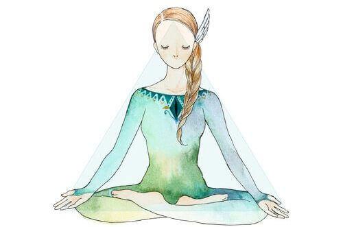 tegning av kvinne som mediterer