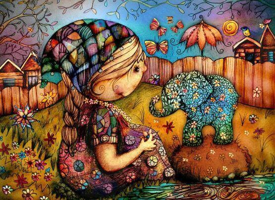 Jente og elefant i spennende omgivelser