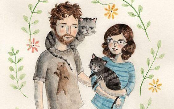 mann og kvinne med katter