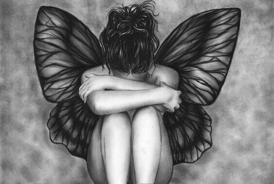 trist kvinne med vinger