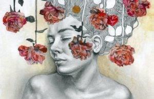 Angsten av å prøve å kontrollere tiden: Kvinne med roser rundt hodet