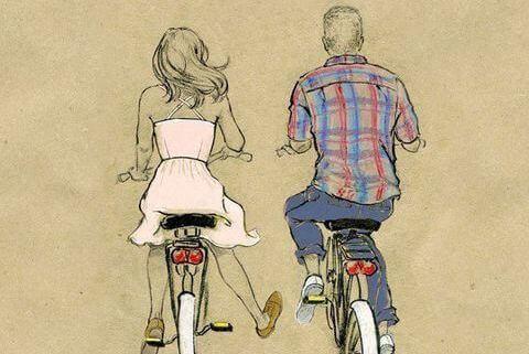 Ekte kjærlighet er gjengitt med kjærlighet: mann og kvinne sykler