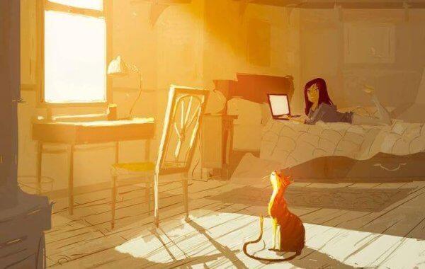 Katt i solen og jente ved datamaskinen
