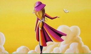Kvinne med gul himmel