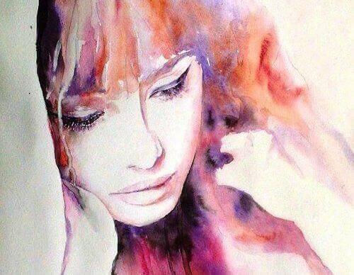 Kvinne malt i akvarellfarger