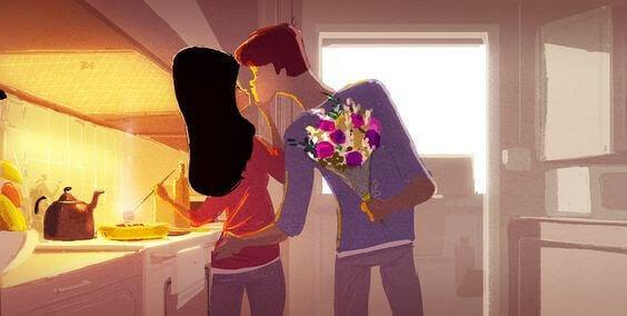 mann gir blomster til kvinne