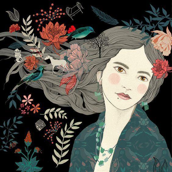 Blomster og dyr i kvinnes hår