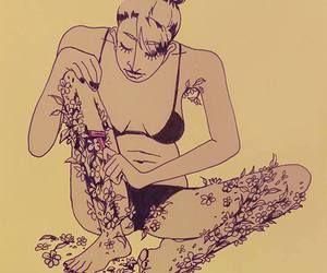 Kvinne barberer blomster