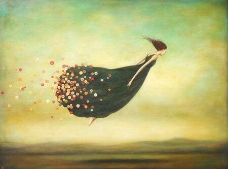 kvinne flyr med blomster