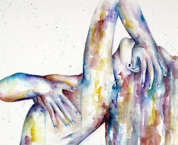 Kvinne i akvarellmaling