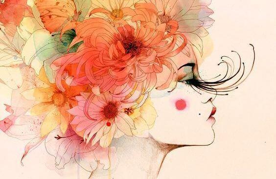 kvinne med blomster som har