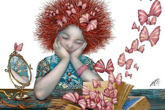 Jente ser på at sommerfugler kommer ut av en bok