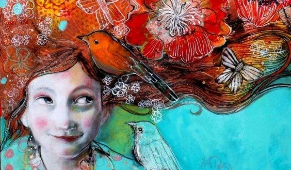 Fugl i kvinnes hår
