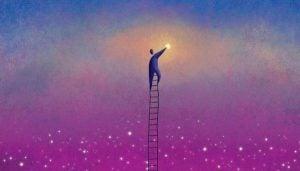 Mann på stige i himmelen