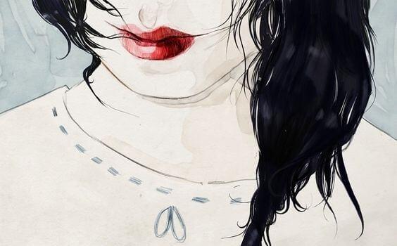 Kvinne med røde lepper
