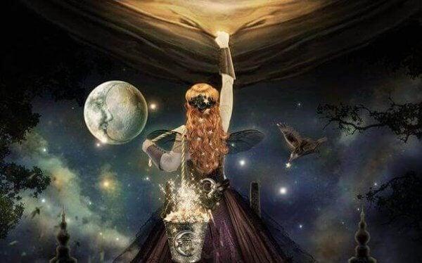 Kvinne med stjerner i en bøtte