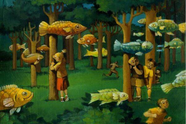 Barn i en skog med flyvende fisk