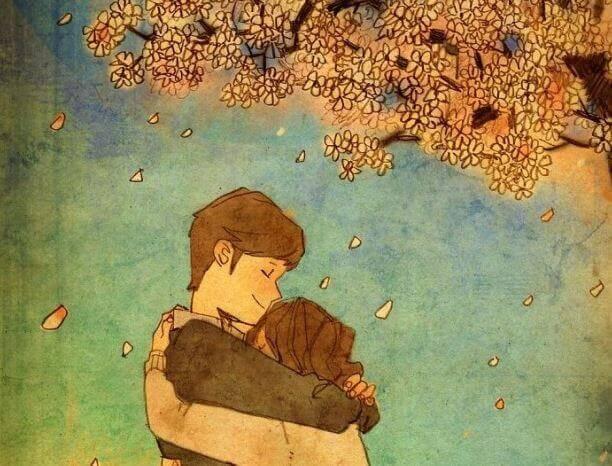 Par omfavner hverandre