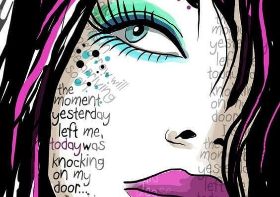 Kvinnes ansikt fylt med ord