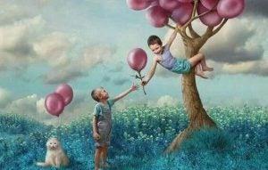 Godhet trenger ingen brukermanual:: Barn med ballonger i et tre