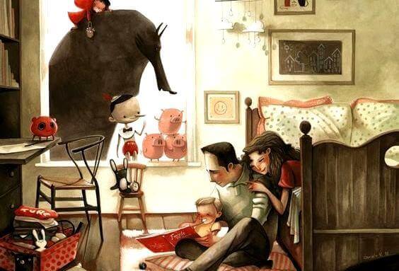 Familie hjemme