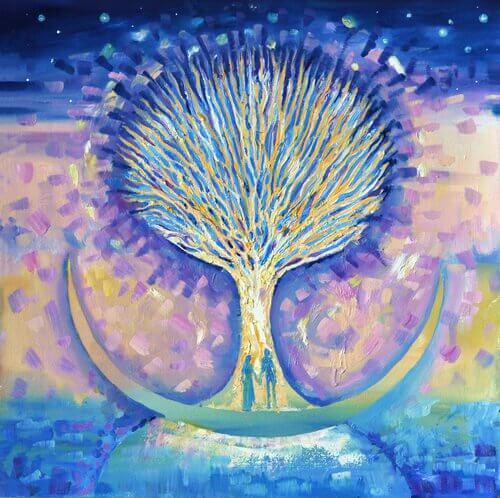 Maleri av mann og kvinne foran et tre