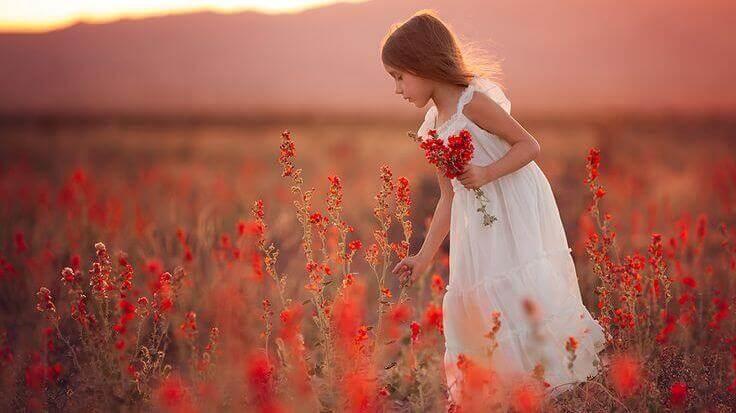 Jente plukker blomster