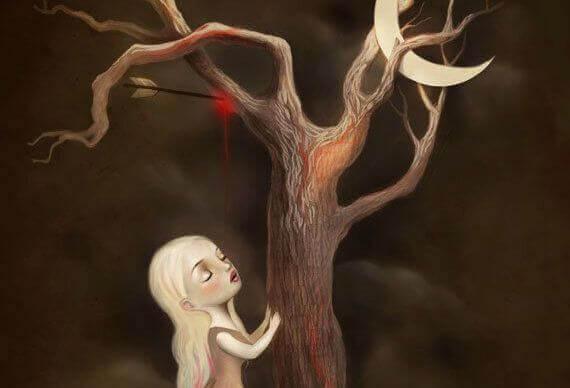 Jente under et vissent tre