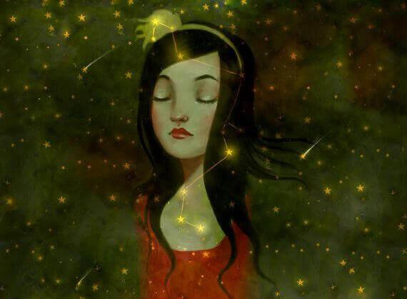 Kvinne og stjernehimmelen