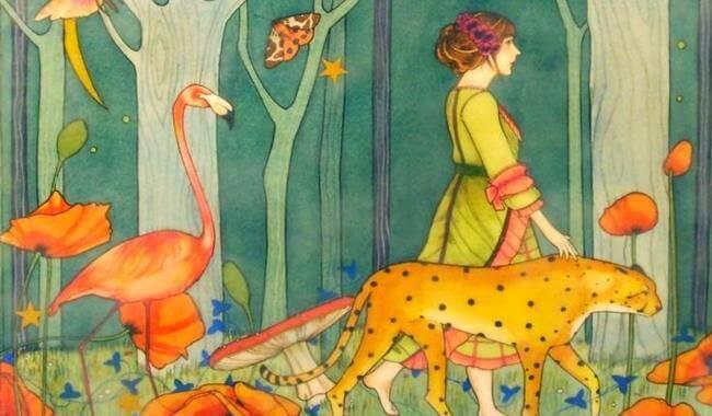 kvinne med dyr i skogen