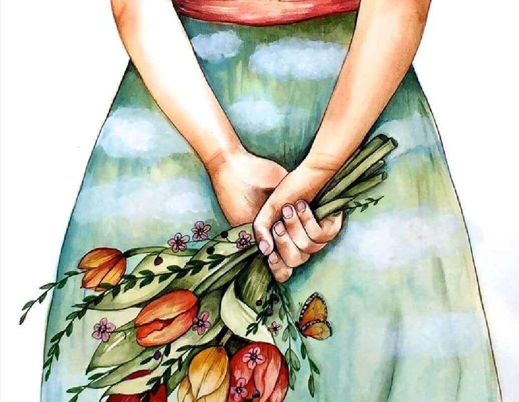 Kvinne holder en blomsterbukett bak seg