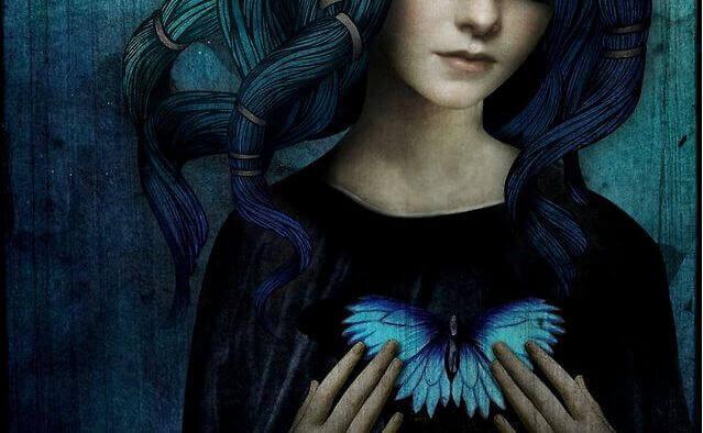 Jente med sommerfugl