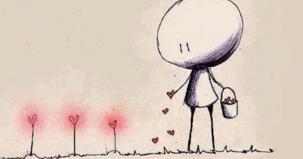 tegnet figur sår hjerteplanter