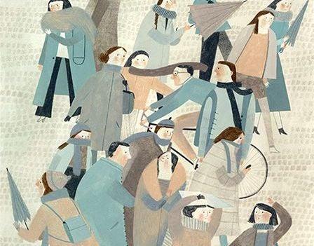 Maleri av menneskemengder