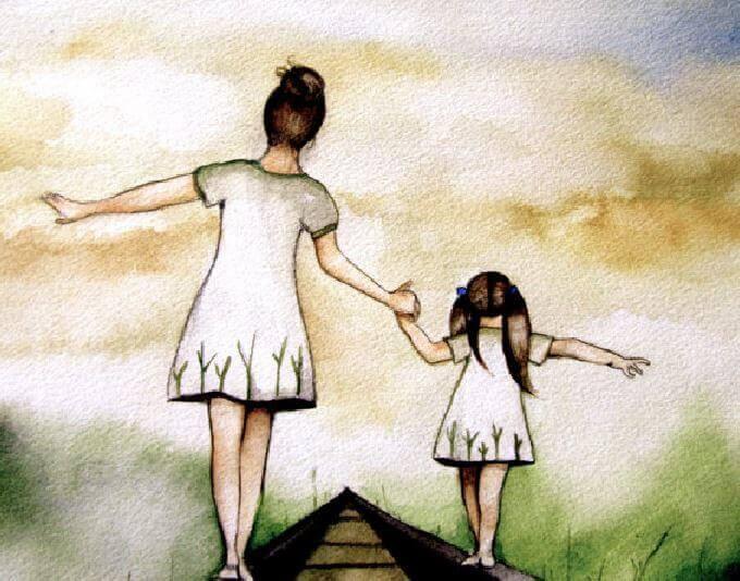 Mor og datter går på togspor