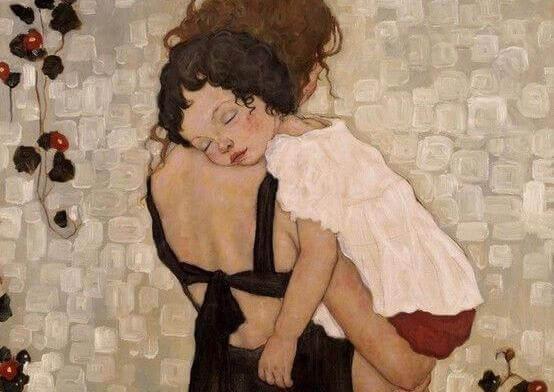 Barn sover på mors skulder