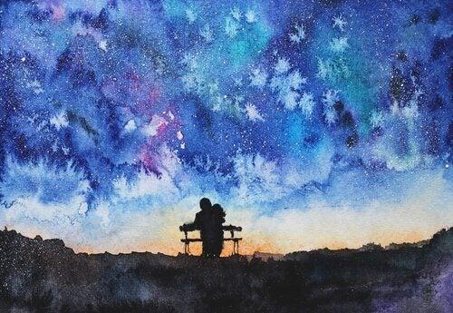 Maleri av noen som sitter på en benk