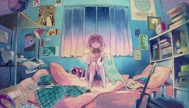 Jente sitter i sengen i rotete soverom