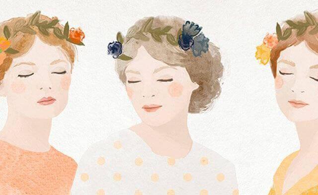 Kvinner med blomsterkranser