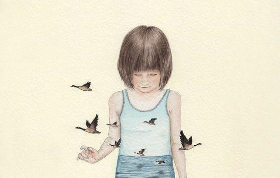 Trist jente med fugler
