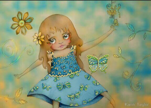 Trist liten jente med sommerfugler